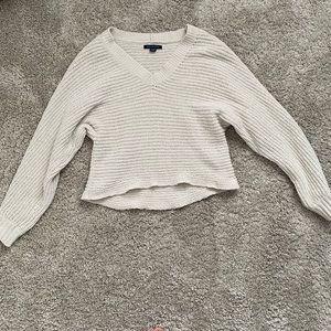 American Eagle Cream Knit V Neck Sweater